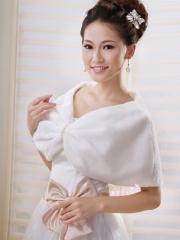 Wedding Wraps Refined Faux Fur Wedding Shrug with Pearl Ornament