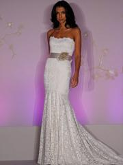 White Lace Strapless Trumpet Bridal Gown in Sweep Train