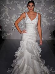 White Organza Satin V-neckline Wedding Dress in Chapel Train