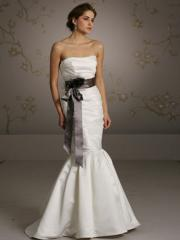 White Satin Strapless Bridal Gown in Sweep Train