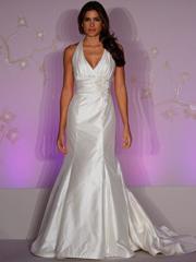White Taffeta Halter Trumpet Silhouette Wedding Dress in Sweep Train