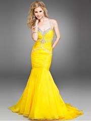 Yellow Chiffon Mermaid Beaded Halter Sweetheart Neckline Sleeveless Sweep Train Evening Dress