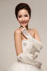 bridal fingertips Elbow Length White Satin Wedding Gloves